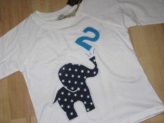 """Geburtstagsshirt """"Elefant 2"""", Elefantenjunge, weiß"""