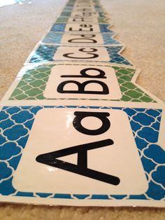 printable alphabet line in calming blue, green, and turquoise! classroom decor and ideas for kindergarten centers!