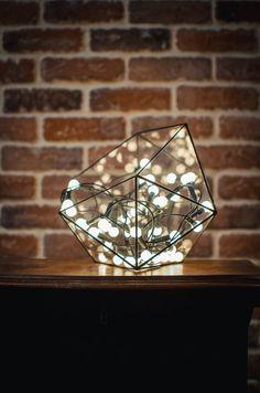 Petit Terrarium icosaèdre, Vase en verre teinté, planteur pour intérieur jardinage, bougeoir, verre souillé icosaèdre