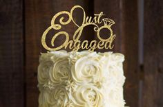 Get that picture perfect look that you deserve. This is a great way to dress up and style cake. They make beautiful photo props for engagement photos and announcements, or use it an your engagement party! Additional colors can be special ordered. Pictured is the 6 golden glitter on a standard sized cake. Made from high quality glitter card stock. Placed upon two food grade tooth picks to easily decorate your cake. The back is white. This item is delicate. I do want to make it clear that…