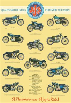 Classic AJS Motorcycle Poster reproduced from the original 1960 range brochure. via Etsy. Ajs Motorcycles, Bsa Motorcycle, Antique Motorcycles, Motorcycle Posters, British Motorcycles, Motorcycle Design, Classic Motorcycle, Street Tracker, Bike Poster