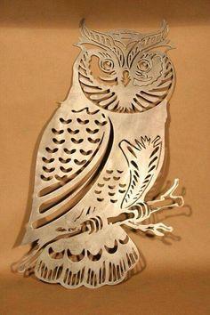Highly Detailed Owl Plasma Cut Metal Wall Art Hanging Home Decor - Debra Ortega Metal Tree Wall Art, Hanging Wall Art, Metal Artwork, Metal Projects, Metal Crafts, Plasma Cutter Art, Sculpture Metal, Tree Sculpture, Plasma Cutting