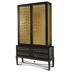 Rutherford Hollywood Regency Black Gold Leaf Eglomise Collectors Cabinet