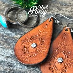 Hand Tooled Leather Earrings Cognac Color Leather Earrings
