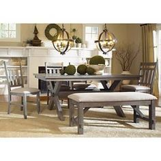 Shop for Powell Furniture Turino Dining Set - Table, Bench And Side Chairs, and other Dining Room Sets at Indian River Furniture in Rockledge FL. Table With Bench Seat, Dining Set With Bench, Kitchen Table Bench, Table Cafe, A Table, Dining Bench, Dining Chairs, Side Chairs, Bench Set