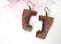 Hand Painted Leather Earrings Abstract jewelry by Elyseeart