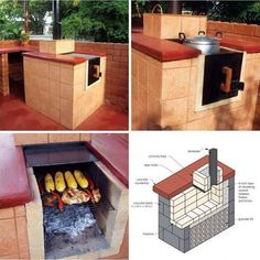 DIY All In One: Outdoor Smoker, Stove, Oven, Grill - Find Fun Art Projects to Do at Home and Arts and Crafts Ideas Backyard Projects, Outdoor Projects, Home Projects, Grill Outdoor, Outdoor Cooking, Outdoor Kitchens, Bbq Grill, Grilling, Grill Oven