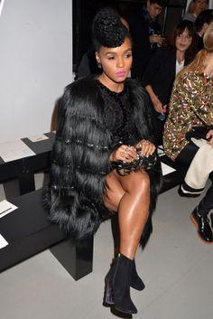 black fur coat + black sequin dress + black booties
