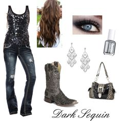Drk Sparkley sequin top,drk blue jean with white stiching, chandler earrings,drk black grey boots, black country bag. silver nail polish.