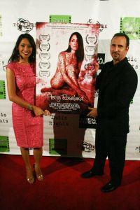 Writer/Actress Chuti Tiu and Oscar Torre attend the premiere of Pretty Rosebud, Jan 16, 2015, at the Arena Cinema. Copyright 2015 Bourgeois Magazine LA