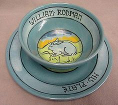 SEG Paul Revere Bowl Blue Glaze Rabbit Scene His Bowl William Rodman | eBay