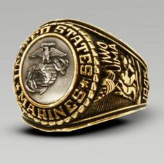 Our Gold Electroplated USMC Tun Tavern and Iwo Jima ring is available in sizes Order this Marine Corps Bronze Insignia ring today at eMarine PX. Marine Corps Rings, Us Marine Corps, Military Jewelry, Armada, Blue Rings, Silver Rings, Marines, 18k Gold, Iwo Jima