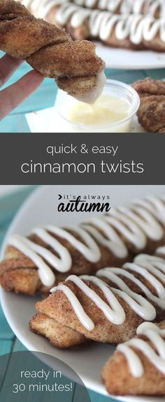 these delicious cinnamon twists with cream cheese frosting start with refrigerated breadsticks so they're ready in under 30 minutes! easy recipe.