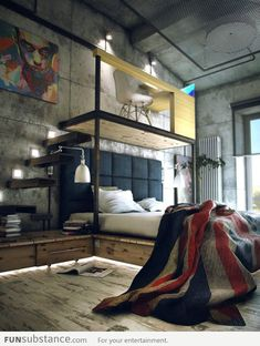 Check Out 20 Industrial Bedroom Designs. Industrial bedroom design is an urban signature that combines simplicity and authenticity. Industrial bedroom design incorporates utilitarian edge with rough textures and sometimes aged woods. Industrial Bedroom Design, Loft Industrial, Industrial Interiors, Industrial Industry, Industrial Apartment, Industrial Living, Art Interiors, Industrial Architecture, Industrial Furniture