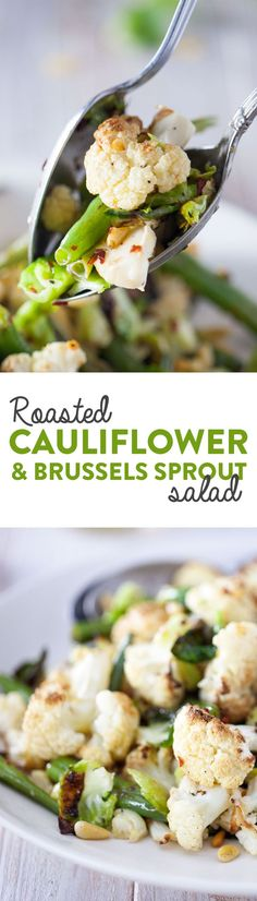 Caramelized cauliflower tossed with crispy brussels sprout leaves and green beans. The roasted lemon and garlic dressing is bright and flavorful, while the toasted pine nuts and capers top it all off. Vegan & Gluten Free.