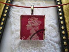 New! Handmade Square Glass Top Cord Choker Pendant Necklace, Free U.S. Shipping! #Handmade #Choker