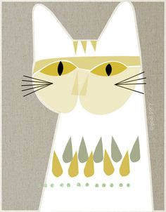 white cat mid century design art print A4 size by poolponydesign, $35.00