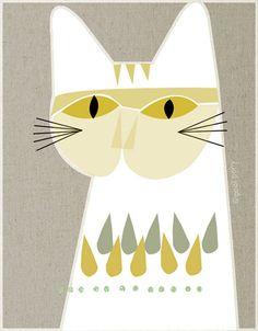 mid century cat print