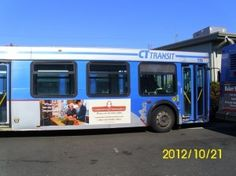 This CT Transit bus is advertising multiple #brands. #cardecals #busgraphics #vehiclegraphics #vehiclewraps