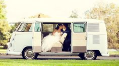 The wedding party arrived in a 1965 VW Kombi. Photos by Inlighten Photography.