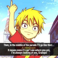 Laxus was so sweet as a kid! He is truly a Fairy Tail member! This motion means so much to everyone in the guild.
