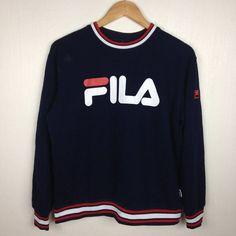 Rare!! Vintage des années 90 FILA gros Logo broderie bleu ras du cou Pullover Sweatshirt L taille