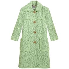 Frayed Coat Mint Cotton Tweed (£1,975) ❤ liked on Polyvore featuring outerwear, coats, jackets, tops, coats & jackets, floral print coat, mint green coat, green tweed coat, cotton coat and mint coat