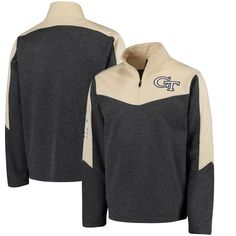 Georgia Tech Yellow Jackets Colosseum Top Gun Quarter-Zip Pullover Jacket - Charcoal/Gold