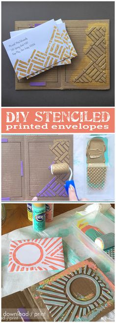 Acrylic paint and a DIY stencil are the cure for boring white envelopes! These are so easy to make and a fun and affordable way to liven up wedding or party invitations. See how at http://www.downloadandprint.com/blog/print-tastic-envelopes/