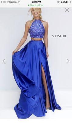 Sherri hill royal blue two piece prom dress