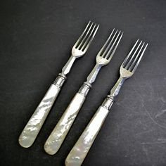 3 Antique Silverplated Forks Mother of Pearl by FeltersCottage US$39.00
