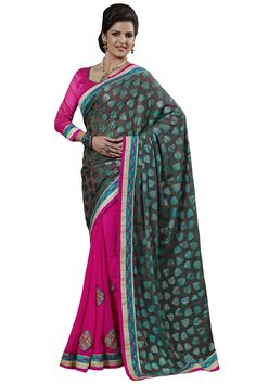 Green designer party wear saree online from Easysarees