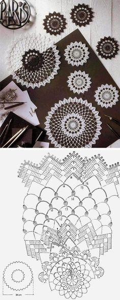 Crochet doily 20 free pattern / 20 схем для вязания салфеток крючком: