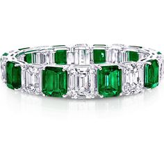 Emerald Cut Emerald and Diamond Bracelet ❤ liked on Polyvore featuring jewelry, bracelets, emerald jewellery, emerald bangle, diamond bangles, emerald jewelry and diamond jewellery