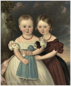 two girls and a doll folk art painting by unknown artist. American school 19th Century