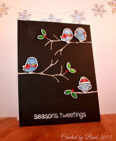 card critters birds winter sparrows Season's Tweetings - wintersparrows - #wintersparrows