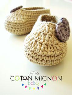 Zapatitos ganchillo bebe recien nacido cultura coton mignon
