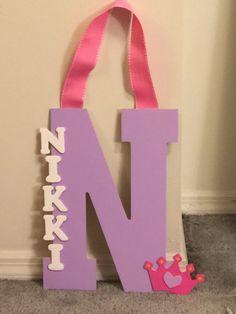 Custom Wood Painted Letter; Kids Nameplate; Kids Room Decor