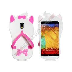 Decora y protege tu telefono movil con este bonito accesorio como es la Carcasa Divertida diseño chancla gatito para Galaxy Note 3
