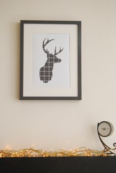 A4 Framed Grey Sideview Tartan Stag Pint | Two Red Trees