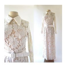 Lace Maxi Dress / 1960s Dress / 60s Wedding by SmallEarthVintage