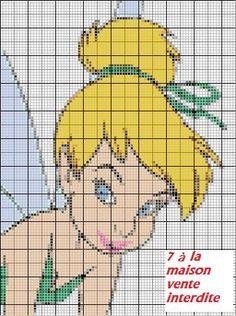 Le portrait de la fée clochette en grille gratuite :