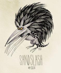 """Sandslash #028"" Tim Burton inspired Pokemon design by http://hatboy.tumblr.com/post/31273193748/sandslash-028-tim-burton-inspired-pokemon"