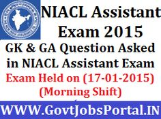 GK QUESTIONS ASKED IN NIACL ASSISTANT EXAM 2014