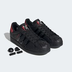 adidas Superstar Star Wars Shoes - Black   adidas US Star Wars Shoes, Superstars Shoes, The Empire Strikes Back, Adidas Superstar, Black Adidas, Black Shoes, Adidas Sneakers, Leather, Darth Vader