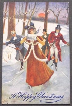 """Lady and three men ice-skating"" - vintage Christmas Scenes, Christmas Past, Winter Christmas, Christmas Greetings, Vintage Christmas Images, Victorian Christmas, Vintage Greeting Cards, Vintage Postcards, Skating Pictures"