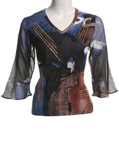 This Blue Abstract V-Neck Top  & Petite by Le Mieux is perfect! #zulilyfinds