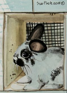 ACEO Original Gouache Painting Bunny Card Miniature - Young Rabbit by Sue Flask #ACEOartcards