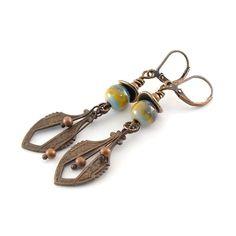 Vintaj and Enamel Sea Breeze Earrings by CinLynnBoutique on Etsy