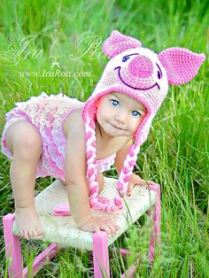 Handmade Crochet Pinky Piglet Animal Hat for all ages.    This adorable Pinky the Piglet Hat is hand crocheted out of soft acrylic yarn. It fits comfortably around ears and will keep your little one warm and cozy.    This Hat will make a lovely gift for any kid and cutest Photo prop    COLOR: Petal Pink and Pink    SIZE: Newborn, Baby, Infant, Toddler, Kids, Teen and Adult    Starting at $ 35.00 CAD